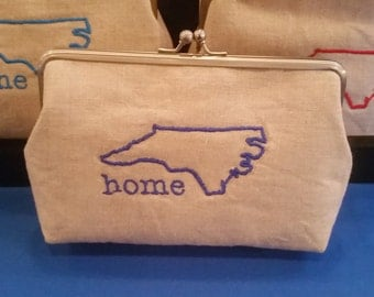 North Carolina Home Clutch, Home State Pride, Holiday Gift, Raleigh Wolfpack, Christmas Gift, Womens Purse, Red Purse, Blue Purse