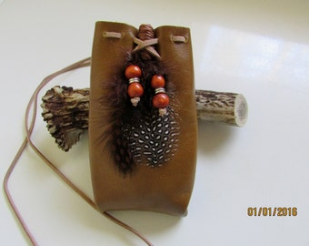 FEATHERED FRIEND // Brown Medicine Bag * Feathers * wood beads * Tribal * spiritual * Pouch *
