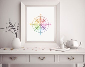 Compass Print - Watercolor Compass - Compass Art - Compass Watercolor Art - Nursery Decor - Compass Wall Art - Watercolor Prints