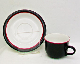 Vintage RANMARU Tuxedo Stoneware Tea Coffee Cup & Saucer White Black Thin Red Stripe Line 1980s 1990s Retro Pottery China Japan Dinnerware
