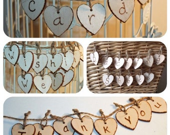 Wooden Heart Garlands ,  Wooden Heart Banner, Wedding Signage, Wooden signs, Cards, Wishing Well, Dancing Shoes