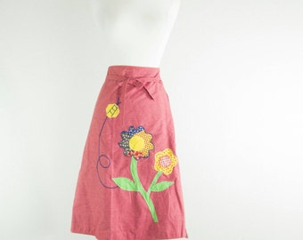 1970's Miss Daisy // Reversible Gingham Skirt // Western Wear