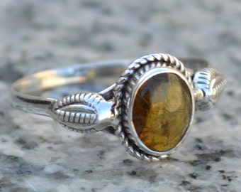 Golden Rutile Ring - Natural stone ring -925 Sterling Silver Ring -Midi Ring - Silver Rutile Ring, Golden Rutile Silver ring US SIZE 5 6 7 8