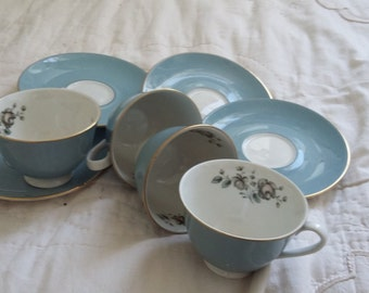 Vintage Royal Doulton Rose Elegans Cups and Saucers