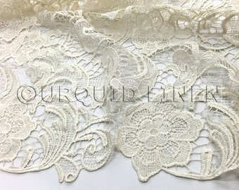 English Lace in Ivory - Lace Fabric with Floral Embroidered Design Throughout - Great For Weddings, Bridal Parties, and Special Events