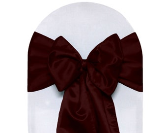 Burgundy Satin Chair Sashes (Pack of 10) | Wedding Chair Sashes