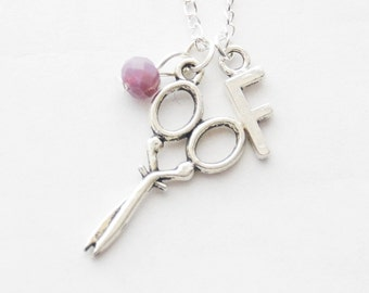 Scissors Necklace Sewing Gift Crafter Gift DIY Gift DIY Necklace Scissor Charm Jewelry Retro Sewing Scissors Necklace Birthstone Initial