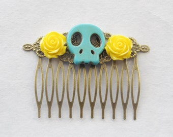 Sugar Skull Hair Comb Turquoise Skull Barrette Gothic Hair Clip Skull Cameo Hair Comb Day of the Dead Hair Comb Sugar Skull Accessories Gift
