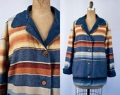 VINTAGE 1970s southwestern blanket coat | Striped navajo native american jacket | Mexican jacket