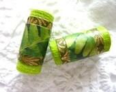 Paper art beads original green tube beads Handmade Paper Bead - set of 2