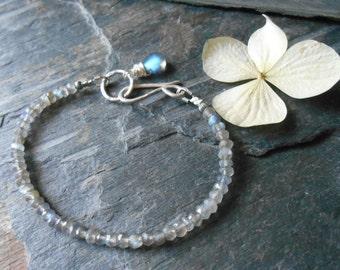 Labradorite gemstone bracelet with sterling silver accents and labradorite dangle, dainty beaded bracelet