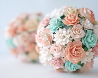 Paper flowers, Flower Girl Pomander  ONLY ONE BALL, size about 11x11x11 cm.pale pink, peach, white and ivory colors.