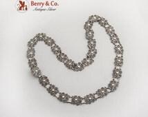 Vintage Filigree Rosette Necklace Sterling Silver