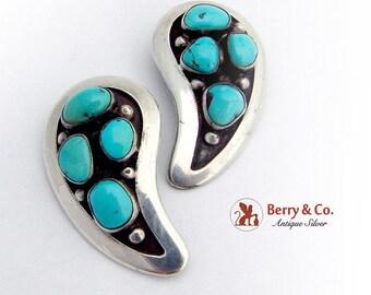 SaLe! sALe! Large Teardrop Clip On Earrings Turquoise Sterling Silver