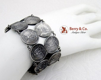 SaLe! sALe! Wide Mexican 20 Centavo Silver Coin Bracelet 1950