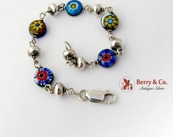 Mille Fleur Art Glass Tennis Bracelet Sterling Silver