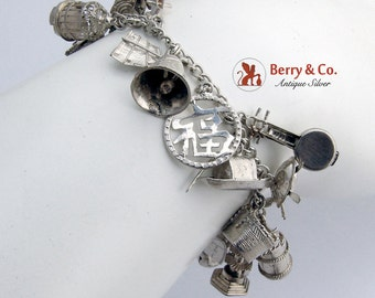 Vintage Chinese Charm Bracelet Sterling Silver