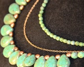 Multi-Strand Turquoise Picasso Czech Glass Teardrop Beaded Necklace