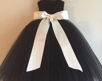 Black Tulle Flower Girl dress, black dress, black tulle party dress, satin sash bow