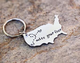 USA Keychain State Keychain, Long Distance Relationship Keychain BFF Gift