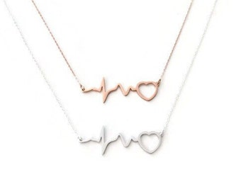 Heartbeat Necklace - EKG necklace, Heart Beat Necklace, Heart Pulse necklace, Nurse Necklace, Nurse gift, Silver on Sterling chain
