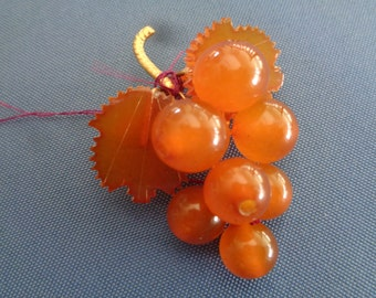 Amber and Gold Grape Cluster Brooch