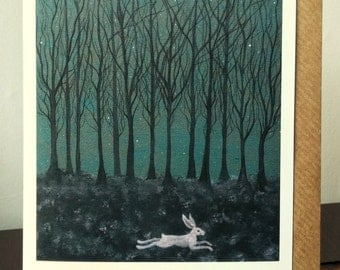The Hare ran through Starlit Woods Blank Art Greeting Card