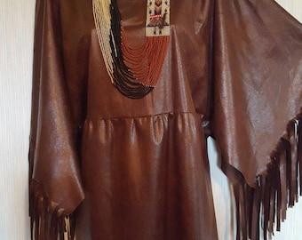 "Native  American indian ""pleather"" dress. Pow-wow regalia. 1x, large,  or  medium."