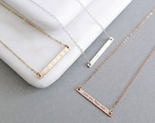 Skinny Reversible Bar Necklace - 14k Gold Fill, Rose Gold Fill, Sterling Silver, Personalised Necklace, Gift For Her - NB01-G/RG/S