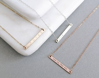 Skinny Reversible Bar Necklace - 14k Gold Fill, Rose Gold Fill, Sterling Silver, Personalised Necklace, Gift For Her