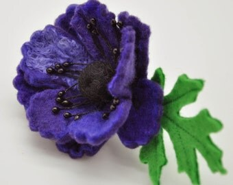 Felted Flower Brooch, Purple Anemone