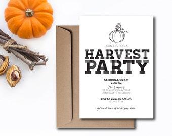 INSTANT DOWNLOAD harvest party invitation / fall party invite / halloween party invite / harvest party / rustic invite / diy invite