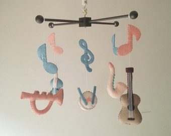 "Baby crib mobile, Instruments mobile, Guitar mobile, Violin mobile, Drum mobile ""Dream sound"""