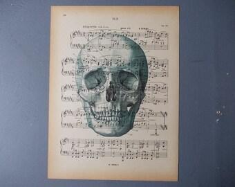 Vintage SKULL Print / Print on Vintage Book Page / Home Decor / Art Illustration to Frame / Old Music Sheet Page / Paper Ephemera