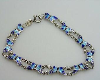 Guilloche Blue Butterfy Bracelet * Vintage Jewelry