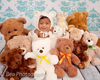 Bonnet and teddy bear set, teddy bear, children's photo prop, baby girl prop, baby boy prop, photo prop, bonnet, crochet photo prop