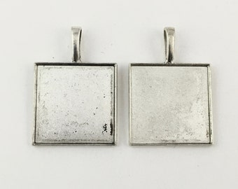 2 square base setting silver tone, fits 25mmx25mm cabochon , #FIN 008