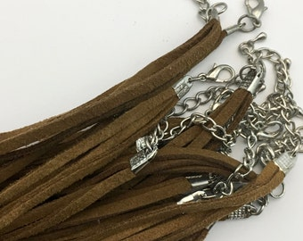 8 real suede leather cord necklace,16 inches,FIN 005