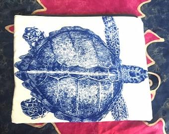 Blue Turtle Zipper Pouch, Makeup Bag