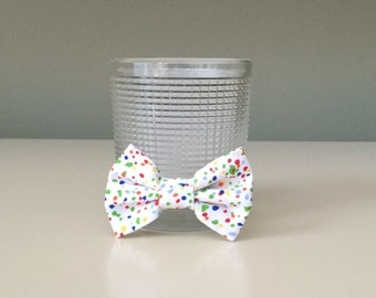 Tiny Dog Bow / Bow Tie - White w Multi Colored Dots