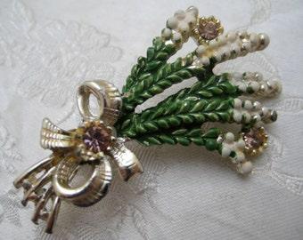 Vintage 1950s EXQUISITE Good Luck Heather Brooch Wedding Jewel Something Old