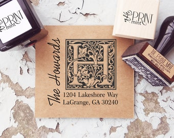 Monogram Stamp, Address Stamp, Wedding Stamp, Return Address Stamp, Custom Address Stamp, Self-Inking Address 10029