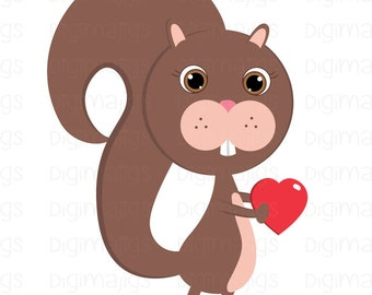 Squirrel Holding a Red Heart