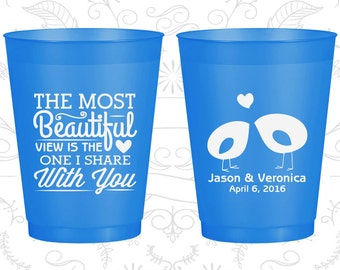 The Most Beautiful View is the One I share with you, Frosted Flexible Cups, Romantic Wedding, Southern Wedding, Blue Frosted Cups (540)