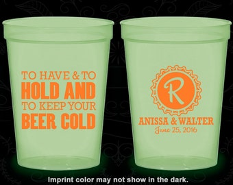 To Have and To Hold, Custom Glow in the Dark Cups, Monogram Wedding, Monogrammed, Glow in the Dark (52)
