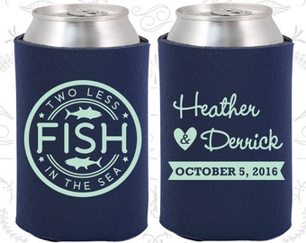 Two Less Fish in the Sea Wedding Favors, Custom Favors, Fisherman Wedding, Wedding Favor Can Coolers (20)