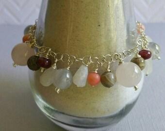 04: April Gemstone and Sterling Silver Charm Bracelet
