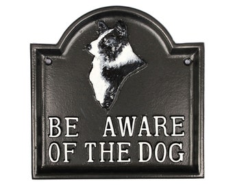 Be Aware of The Dog Large Warning Dog Sign - Collie Dog Sign, Dog Warning Gate Sign Cast Metal Garden Sign Old Antique Style - WARN-18-bl