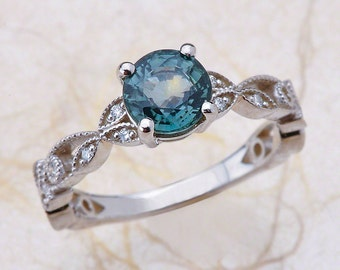 sapphire engagement ring teal green sapphire engagement ring white gold engagement ring