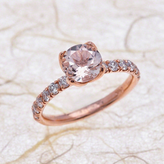 Morganite Rose Gold Ring.Morganite Engagement Ring.Natural Pink Morganite solitaire Ring.solid 14k Rose Gold.Tulip flower ring